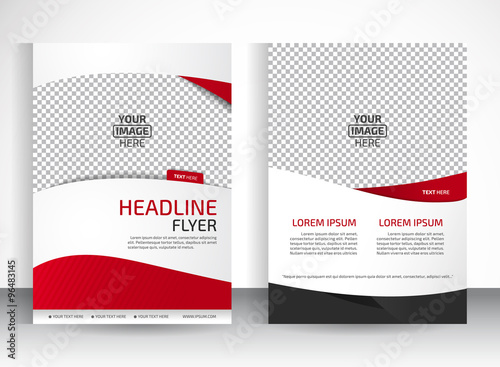 Fotografie, Obraz  Vector design of the white flyer black red elements and place for pictures