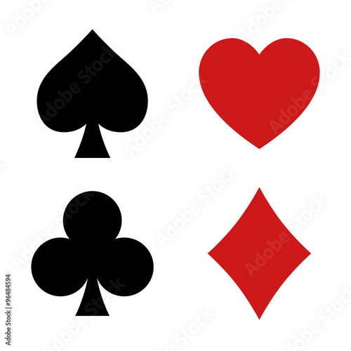 Photo  Playing card spade, heart, club, diamond suit flat icon for apps and websites