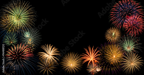 festive fireworks display border with copy space