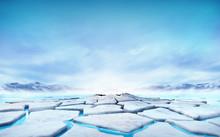 Cracked Ice Floe Floating On Blue Water Mountain Lake
