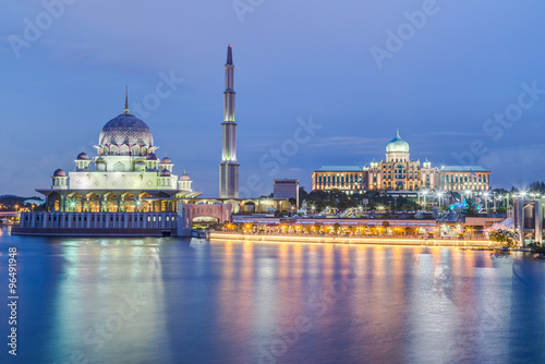 Putra Mosque and Perdana Putra in Putrajaya at  evening Poster