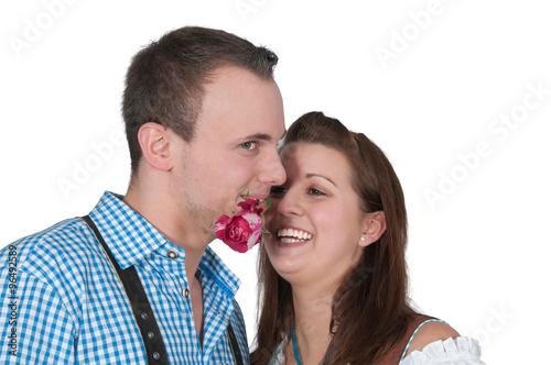 Verliebter Mann Mit Rose Im Mund Kaufen Sie Dieses Foto Und Finden