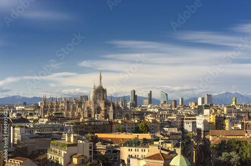 Garden Poster Milan Milan, 2015 panoramic skyline with alps on background