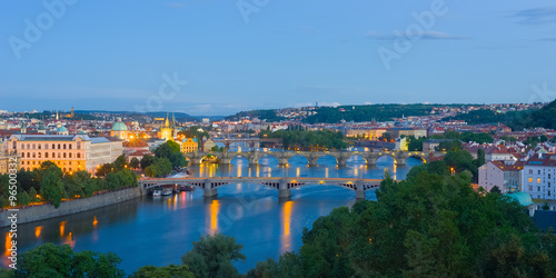 Poster  Panorama of Prague at night