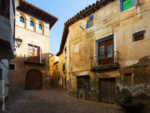 фотография  Narrow street at old spanish town. Borja