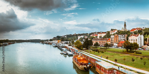 Panorama of Belgrade with Sava river. Color tone tuned