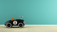 Part Of  Interior With Stylish Black Toy Car 3D Rendering