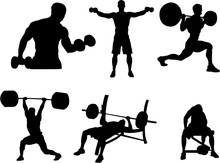 Set Of Bodybuilding Silhouette