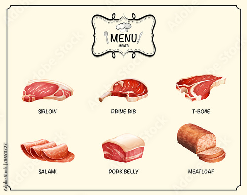 Photo  Different kind of meat products