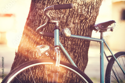 Tuinposter Fiets Old bicycle leaning against a tree