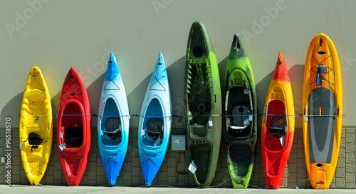 Fényképezés Kayaks for sale at sporting goods store