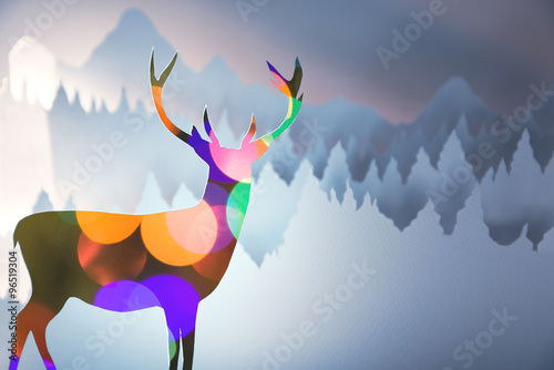 Merry christmas new year paper cut bokeh deer