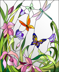 FototapetaStained glass window with flowers and butterflies