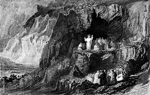 Fotografie, Obraz  An engraved vintage illustration image of  Jesus at the Sermon on the Mount from