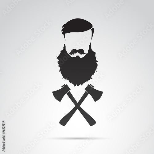Beard, funny, motivational illustration. Vector art. Canvas Print