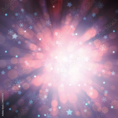 happy new year card magical violet blue colored radial and motion blurred bokeh light with blurred star shapes and snowflakes