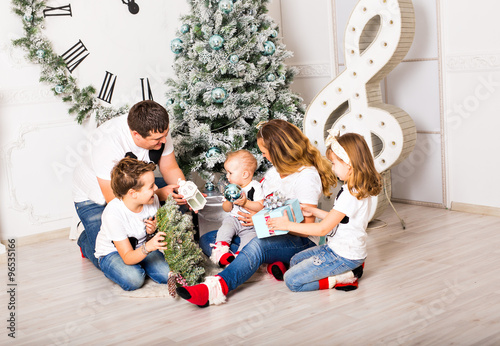 Christmas Family Portrait In Home Holiday Living Room Kids