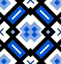 Ornamental Seamless Pattern Or Background In Blue, Black And White