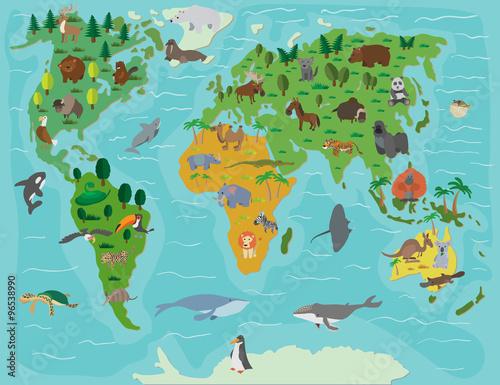 Plakat Świat zwierząt. Śmieszna kreskówka mapa