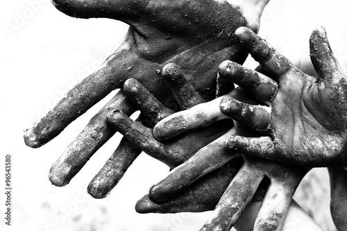 Hands of poorness Wallpaper Mural