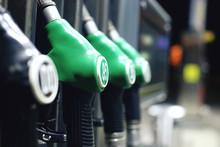 Green Fuel Pistols On Fuel Sta...