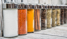 Spices Variety Over Wooden Background
