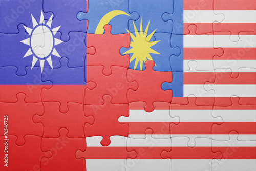 puzzle with the national flag of malaysia and taiwan Poster