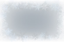 Border Of Various Snowflakes On Light Grey Background.