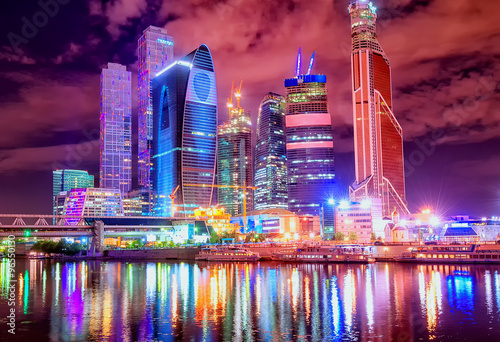 Moscow city at night, Russia