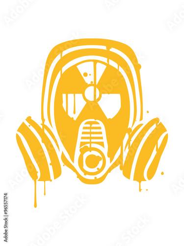 radioactively contaminated nuclear radiation bomb gasmask sign symbol danger dan Canvas Print