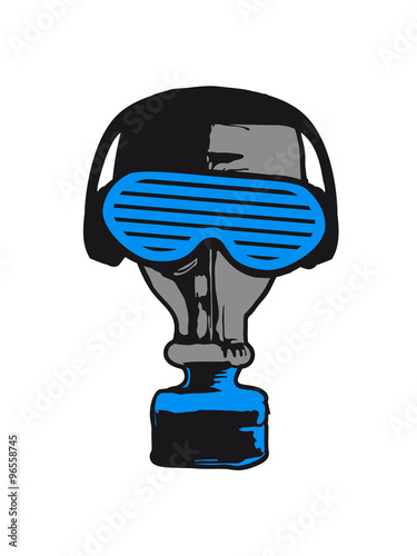 Photo  party music in headphones glasses funky gas mask celebrate dj club