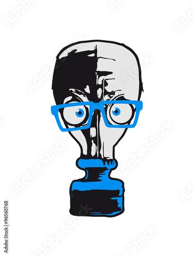 Photo  nerd geek hornbrille comic cartoon funny gas mask cool