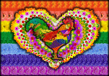 French Rooster And  Heart Symbol On Rainbow Flag