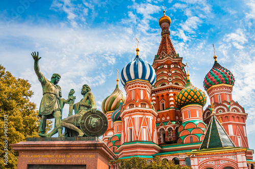 Poster Moskou St. Basils cathedral on Red Square in Moscow, Russia