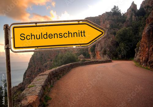 Fotografie, Obraz  Strassenschild 36 - Schuldenschnitt