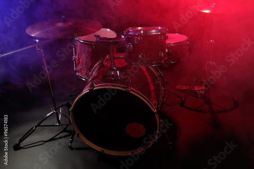 Canvas Prints Flame Drum set in smoke on a stage