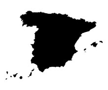Spain Map Black On White Backg...