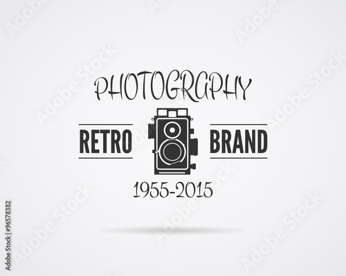 Vintage Photography Badge Label Monochrome Design With Stylish Old Camera Retro Style For