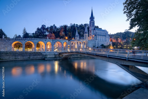 Fotografie, Obraz Sanctuary of Our Lady of Lourdes at Blue Hour
