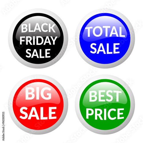 red green black and blue discount price signs on white background