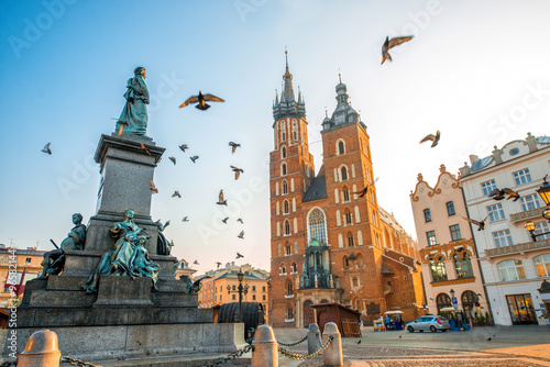 Photo sur Aluminium Cracovie Old city center view in Krakow