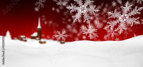 Montage in der Fensternische Violett rot Abstrakte, rote winterliche Grußkarte, Weihnachtskarte mit Schneeflocken, Schneekristallen, Flocken und Schnee im Vordergrund. Hintergrund Vorlage für Panorama Gruß Karten oder horizontale Banner.