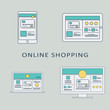 Online shopping concept vector background with line art user interface template on digital devices