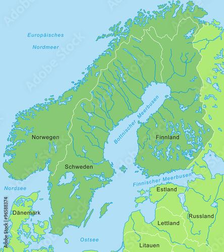Karte Von Skandinavien Grün Beschriftung Kaufen Sie Diese