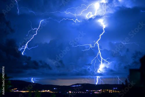 Spoed Foto op Canvas Onweer Tempesta di fulmini