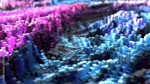 Poster Bleu nuit Pixel landscape