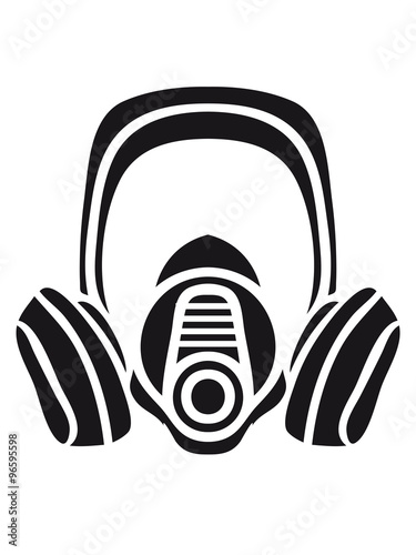 biohazard logo sign symbol toxic virus biological chemical gas mask cool design Canvas Print