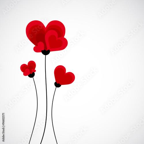 Fototapeta Abstract vector background. Flowers made with heart shape. obraz na płótnie