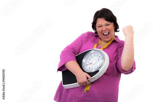 Fotografie, Obraz  Dicke Frau mit tollem Erfolg beim Abnehmen