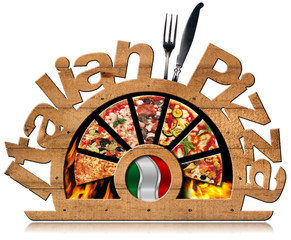 Obraz na Szkle Do pizzerii Wooden Symbol of Italian Pizza with Flames / Wooden symbol with pizza slices, flames, text Italian Pizza, silver cutlery and Italian flag. Isolated on white background
